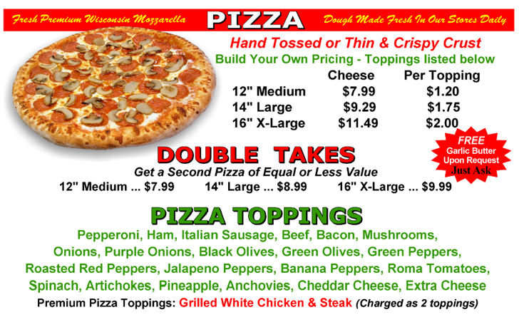 Build your own pizza pricing